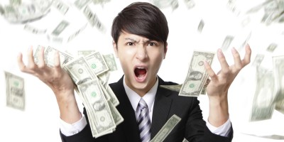 business man anger shouting with money rain